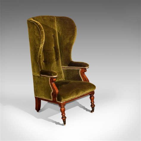 antique wing back chair green velvet c 1850