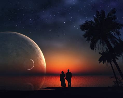 wallpaper lovers dream couple stars moon love
