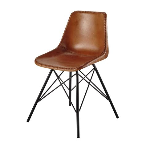 chaise maisons du monde leather and metal chair in camel colour austerlitz