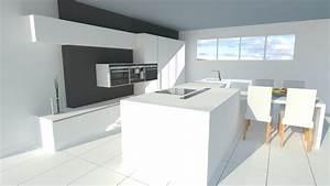 grande cuisine blanche avec ilot With deco cuisine avec chaises blanches de cuisine