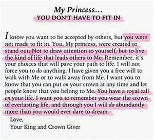 Letter from god to his princess great quotes pinterest for Love letters from god to his princess
