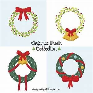 Collection of christmas wreaths with red ribbons Vector ...