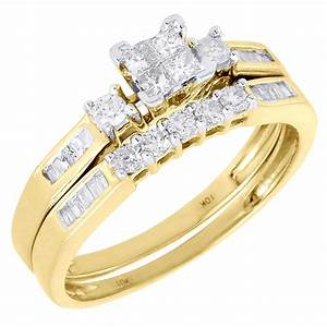 Ladies 10k yellow gold diamond engagement ring princess for Gold engagement and wedding ring sets