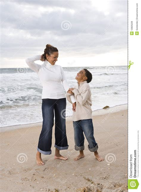 African American Mother Son Beach Stock Photo