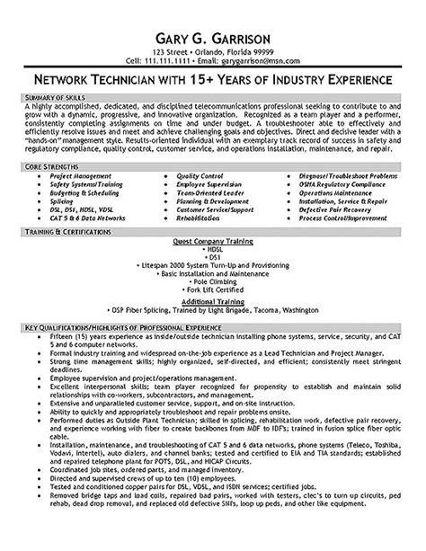 telecom technician resume exle