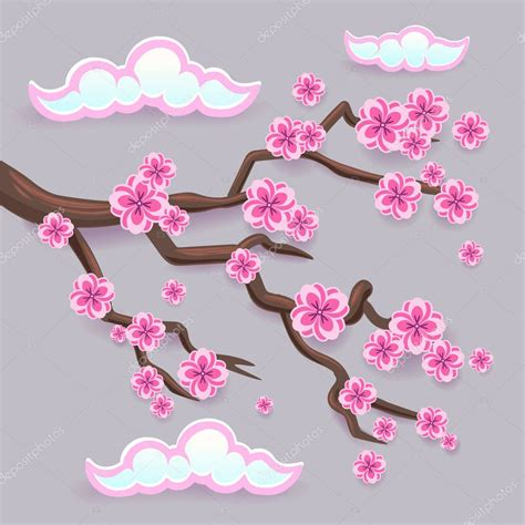 Branch of pink sakura Japanese cherry tree blossom