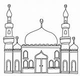 Colouring Ramadan Mosque Pages Printable sketch template