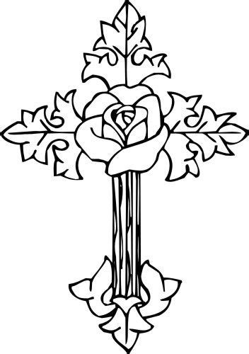 rose cross | Coloring pages, Cross art