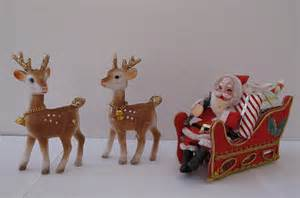 vintage santa sleigh and reindeer decorations 1960s flickr