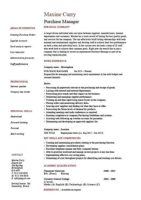 purchase manager resume description sles
