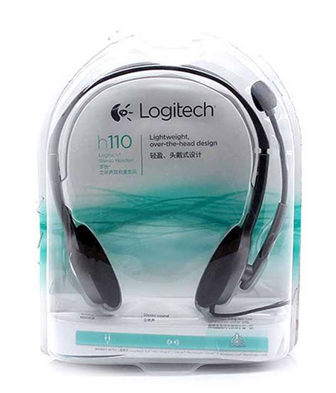 stereo headset logitech h110 buy logitech on the ear wired headphone black at