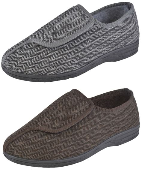 mens easy touch fastening diabetic slippers adjustable