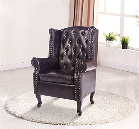 Homcom Antique High Back Chair Pu Leather Seat