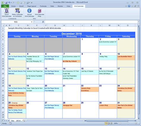 wincalendar excel calendar creator  holidays