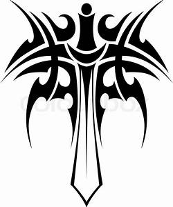 Tribal tattoo with knight sword isolated on white ...