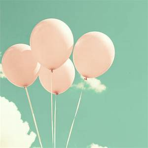 Fly Soft and High, Pink Balloons on Blue Pastel Sky Art ...