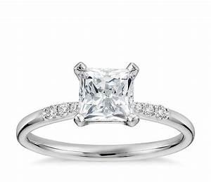1 Carat Preset Princess-Cut Petite Diamond Engagement Ring ...