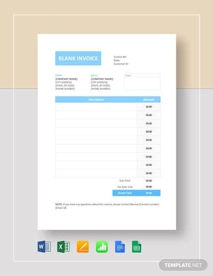sample blank invoice templates  ms word