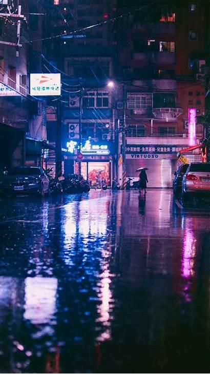 Rain Japan Cyberpunk Aesthetic Street Fi Night