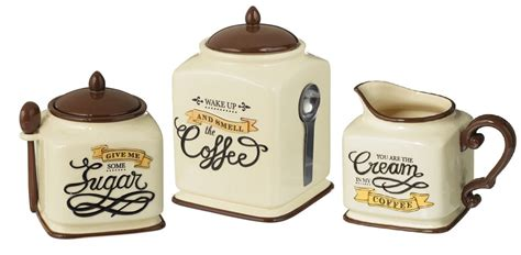 coffee themed canister sugar bowl creamer kitchen