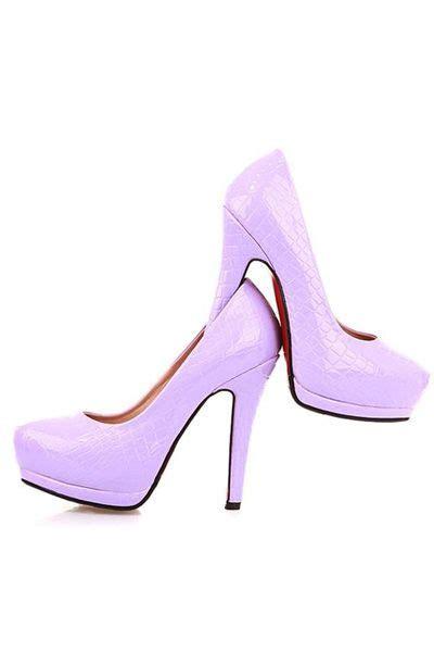 Light Purple Heels by Light Purple Patent Faux Leather Embossed Heels Shoes