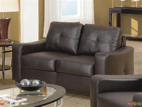 Jasmine Contemporary Brown Leather 2 Piece Sofa Set