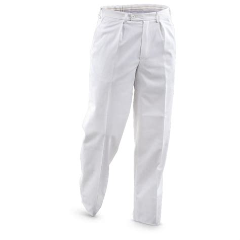 4 New French Military Surplus Dress Pants, White 584507