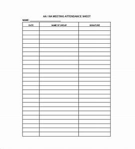 aa meeting attendance sheet template pictures to pin on With group sign in sheet template