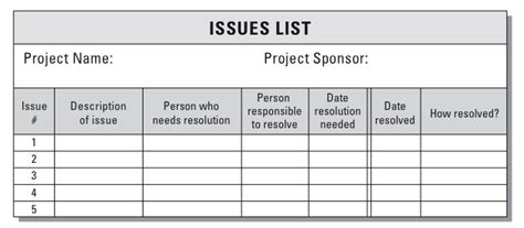 project management spreadsheet template documenting and managing project issues