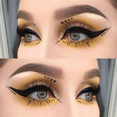 black glitter liner yellow  dots   atmeltcosmetics