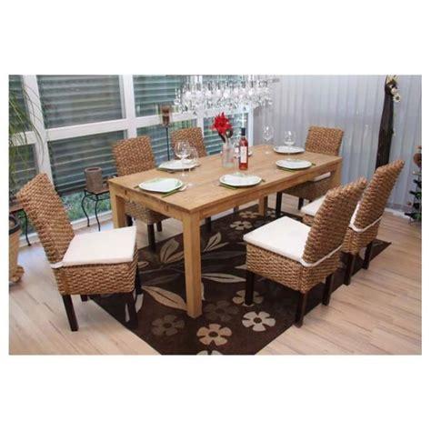 chaise de salle a manger en rotin 6 chaises salle 224 manger en rotin avec coussins achat vente chaise rotin polyester cdiscount