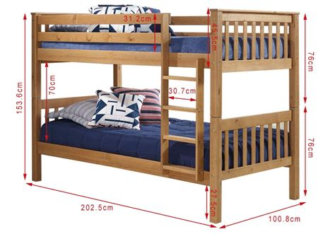 Bunk Bed Dimensions by Oxford Pine Single Bunk Bed Ladder Fixes To Either Side