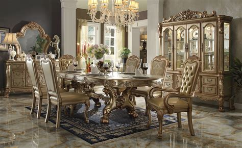 Gold Patina Dresden Dining Set By Acme Furniture