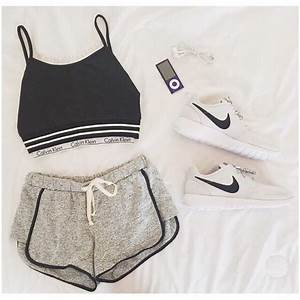 Calvin klein crop top nike outfit shorts - image #3967156 by LuciaLin on Favim.com