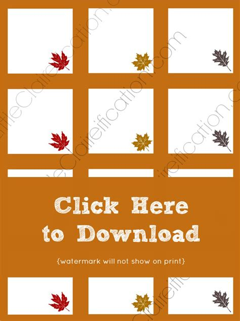 Thanksgiving Place Cards Template