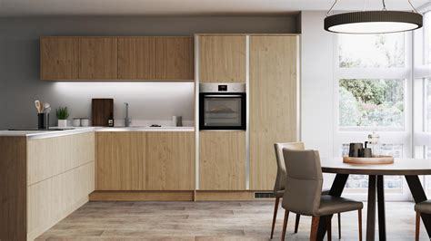 greenwich natural oak handleless kitchen fitted kitchens