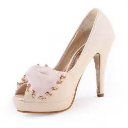 designer high heel designer prom shoes bow peep toes high heel white flowerweddingshoes