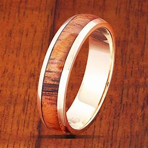 14k yellow gold koa wood wedding ring 5mm band width With wood and gold wedding rings