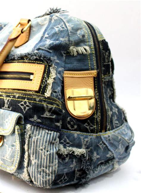 louis vuitton limited edition blue denim monogram patchwork bowly bag  stdibs