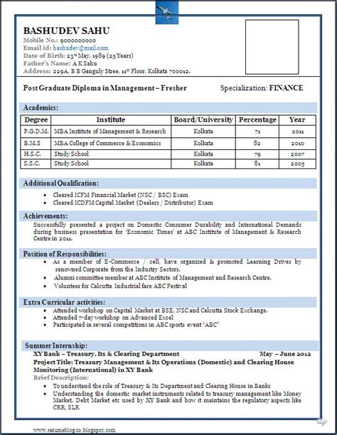 Best Resume Format For Fresher by Sle Of A Beautiful Resume Format Of Mba Fresher