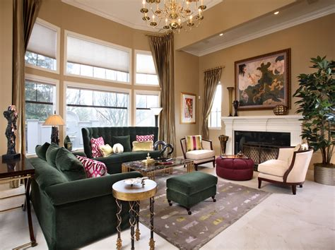 green sofa living room traditional with gold curtains