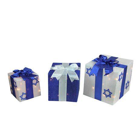 sylvania 3 piece lighted gift box set christmas outdoor yard decor 3 lighted white and blue hanukkah gift box outdoor decoration set walmart