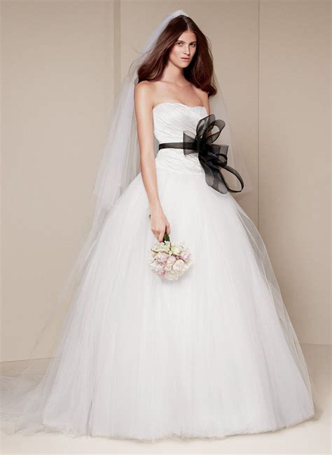 White By Vera Wang Ball Gown With Asymmetrically Draped