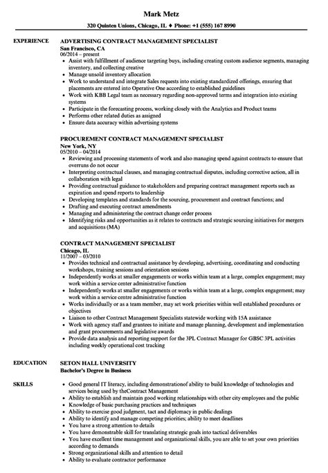 Contract Specialist Resume Exle by Contract Management Specialist Resume Sles Velvet