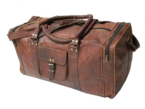 Handmade 20 Inch Brown Round Goat Leather Duffle Bag ...