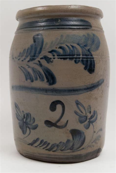 antique stoneware blue decorated morgantown west virginia