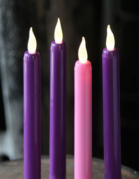 flameless advent taper candle set 3 purple 1 pink 9