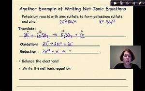 Redox Reactions Part 4 Writing Net Ionic Equations