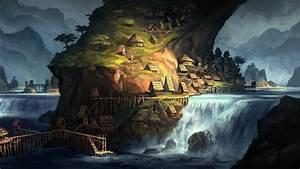 Artwork, Fantasy, Art, Village, Villages, House, Waterfall
