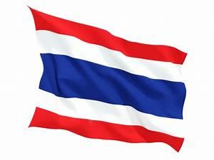 Fluttering flag. Illustration of flag of Thailand